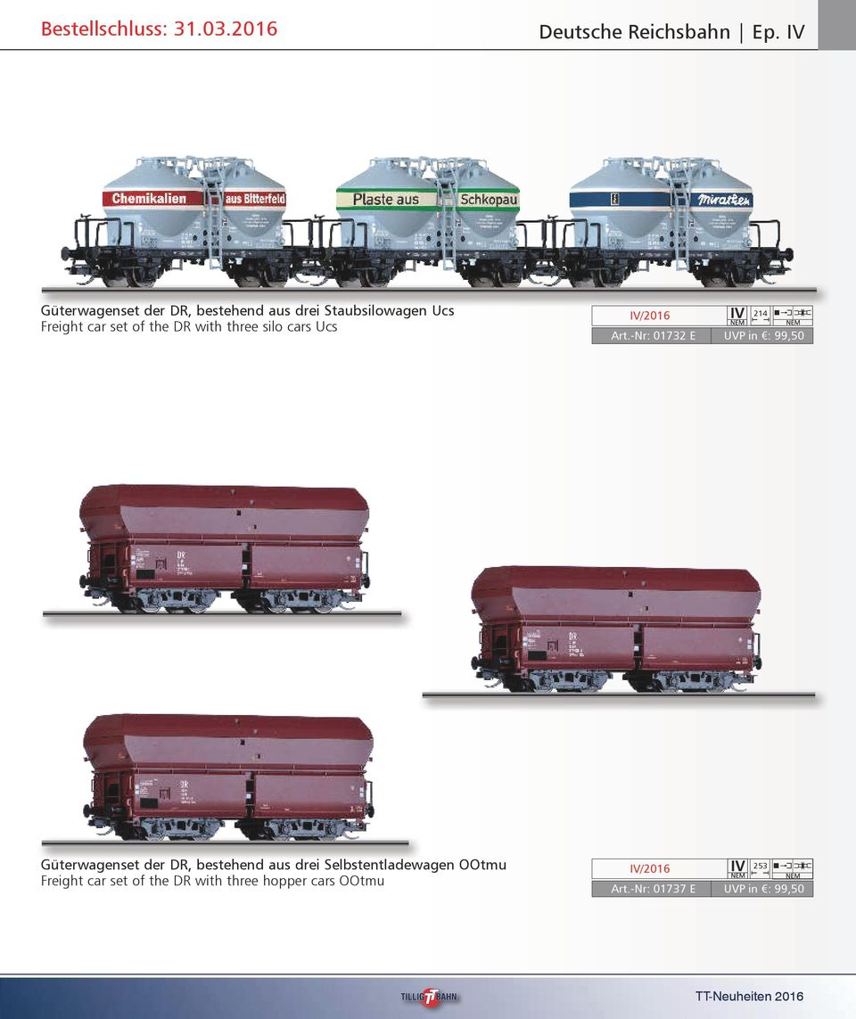 DR with three silo cars Ucs 214 Art.