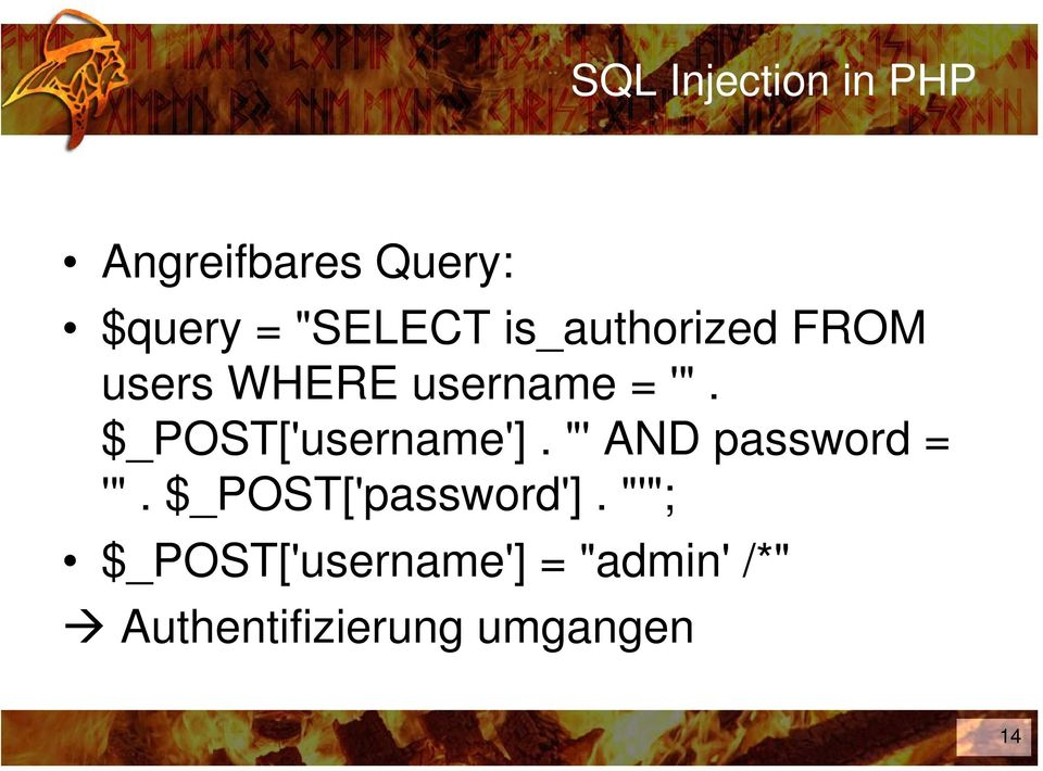 "$_POST['username']. ""' AND password = '""."