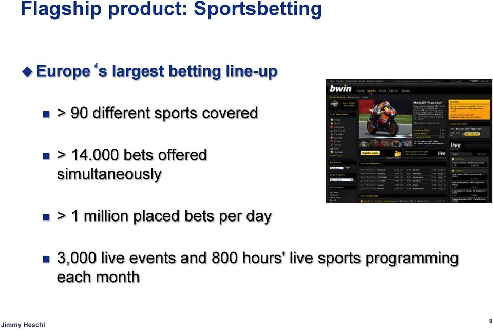 000 bets offered simultaneously > 1 million placed bets