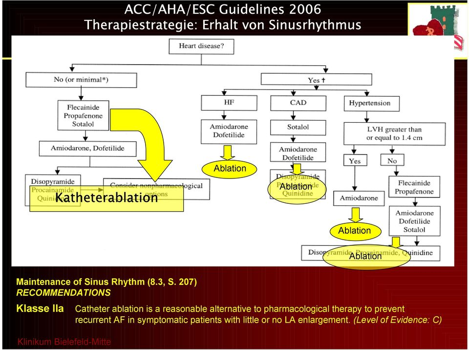 207) RECOMMENDATIONS Klasse IIa Catheter ablation is a reasonable alternative to