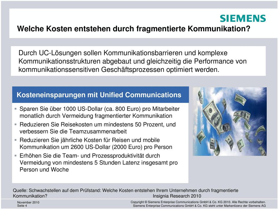 Kosteneinsparungen mit Unified Communications Sparen Sie über 1000 US-Dollar (ca.