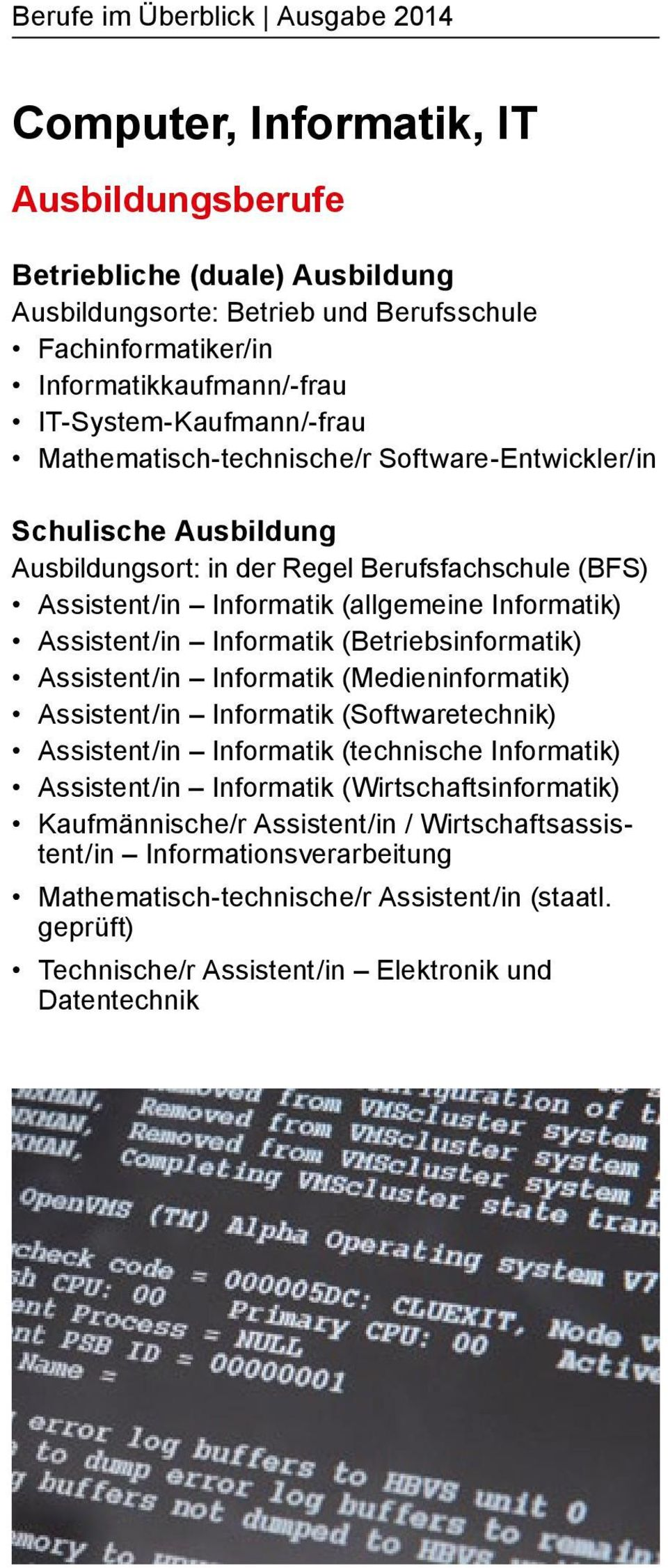 Assistent/in Informatik (Betriebsinformatik) Assistent/in Informatik (Medieninformatik) Assistent/in Informatik (Softwaretechnik) Assistent/in Informatik (technische Informatik) Assistent/in