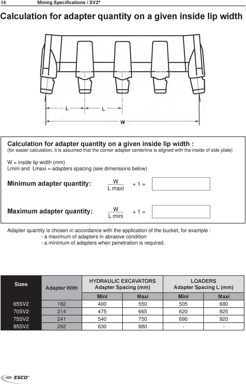 adapter quantity: L mini Adapter quantity is chosen in accordance with the application of the bucket, for example : - a maximum of adapters in abrasive condition - a minimum of adapters when