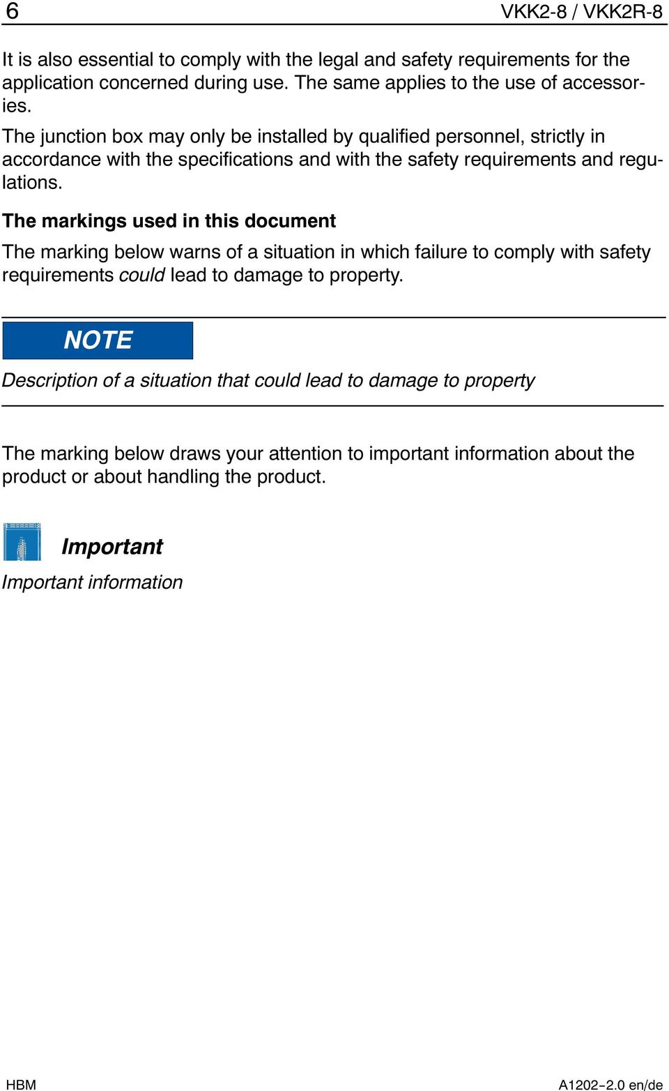 The markings used in this document The marking below warns of a situation in which failure to comply with safety requirements could lead to damage to property.