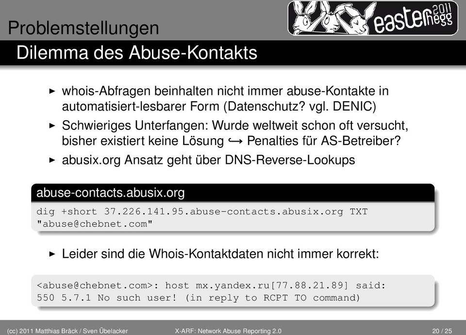 "org Ansatz geht über DNS-Reverse-Lookups abuse-contacts.abusix.org dig +short 37.226.141.95.abuse-contacts.abusix.org TXT ""abuse@chebnet."
