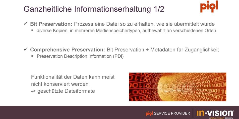 Comprehensive Preservation: Bit Preservation + Metadaten für Zugänglichkeit Preservation Description