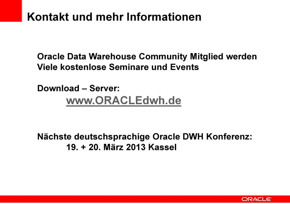 Events Download Server: www.oracledwh.