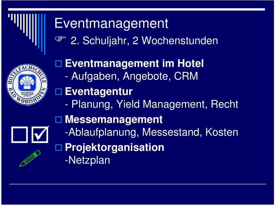 Yield Management, Recht Messemanagement