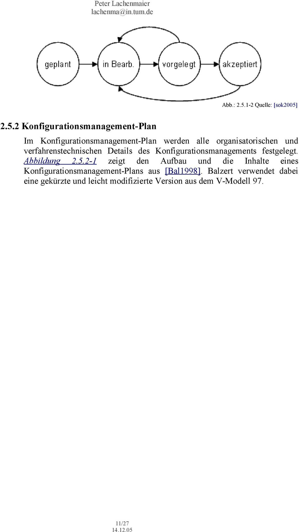 2.5.2 Konfigurationsmanagement-Plan Im Konfigurationsmanagement-Plan werden alle organisatorischen