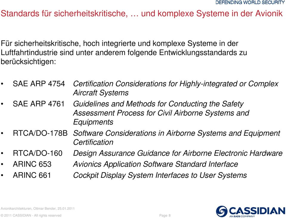 Safety Assessment Process for Civil Airborne Systems and Equipments RTCA/DO-178B Software Considerations in Airborne Systems and Equipment Certification RTCA/DO-160 Design Assurance Guidance
