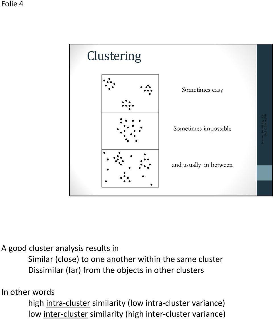 Dissimilar (far) from the objects in other clusters In other words high intra-cluster