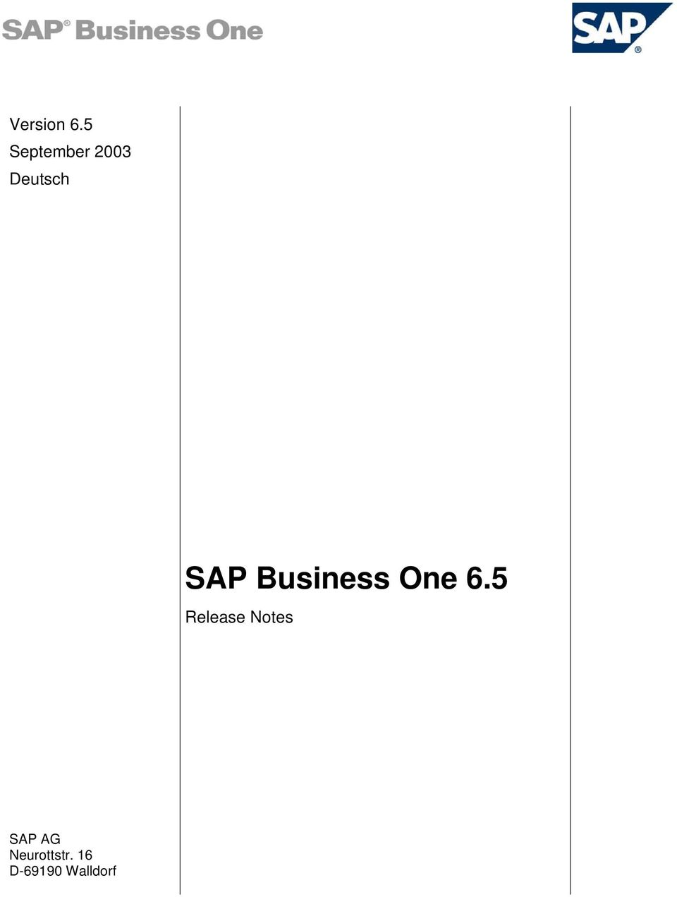 SAP Business One 6.