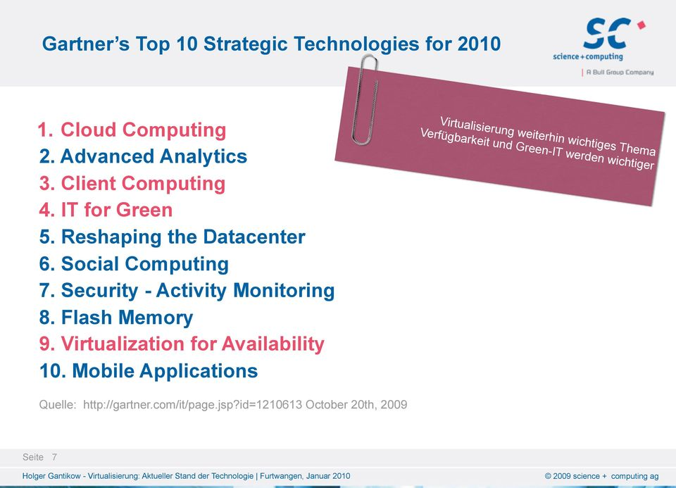 Security - Activity Monitoring 8. Flash Memory 9. Virtualization for Availability 10.