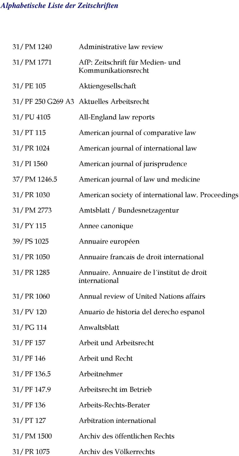 5 31/PR 1030 31/PM 2773 All-England law reports American journal of comparative law American journal of international law American journal of jurisprudence American journal of law und medicine