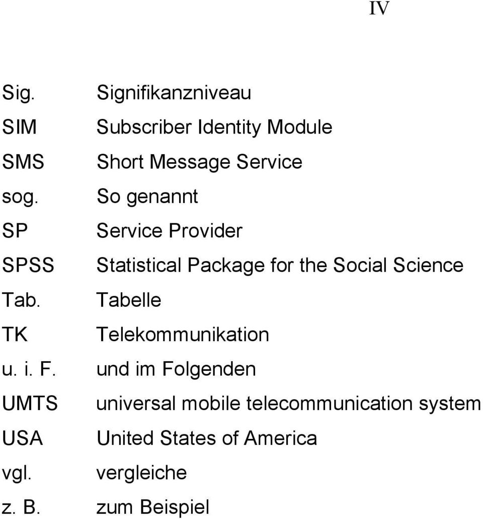So genannt SP Service Provider SPSS Statistical Package for the Social Science Tab.