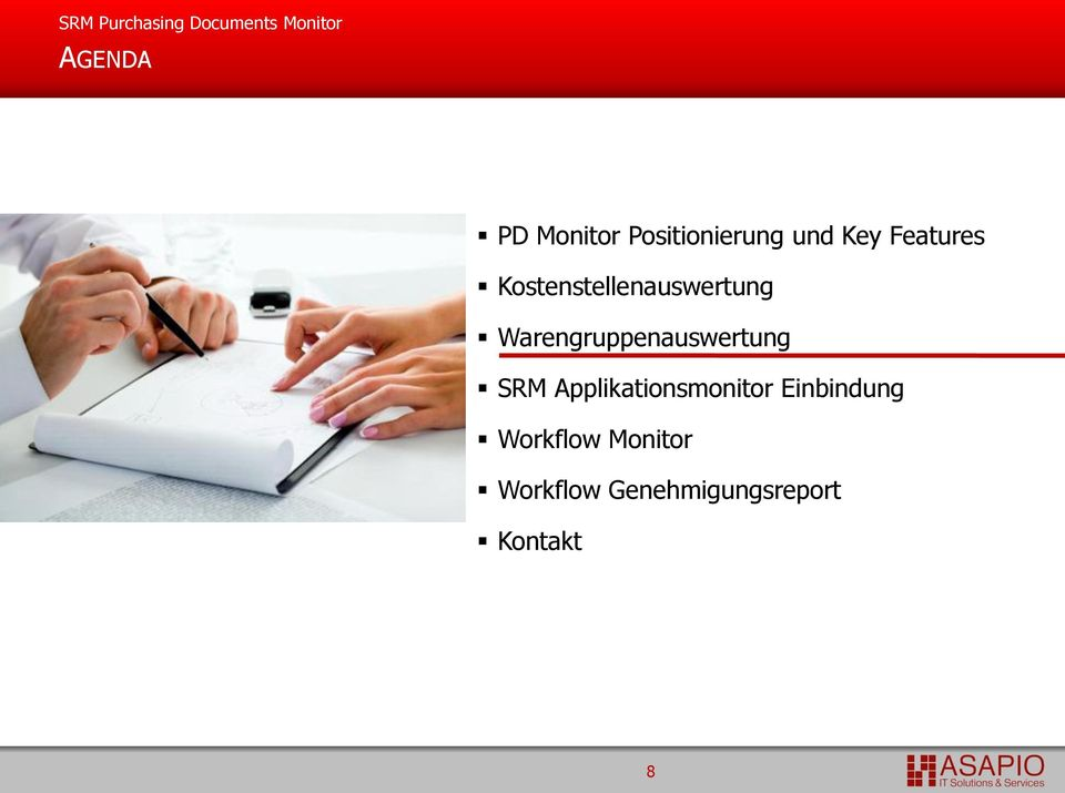 Warengruppenauswertung SRM Applikationsmonitor