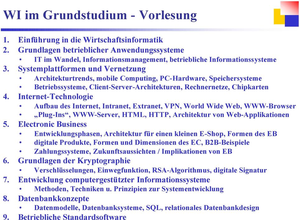 Internet-Technologie Aufbau des Internet, Intranet, Extranet, VPN, World Wide Web, WWW-Browser Plug-Ins, WWW-Server, HTML, HTTP, Architektur von Web-Applikationen 5.