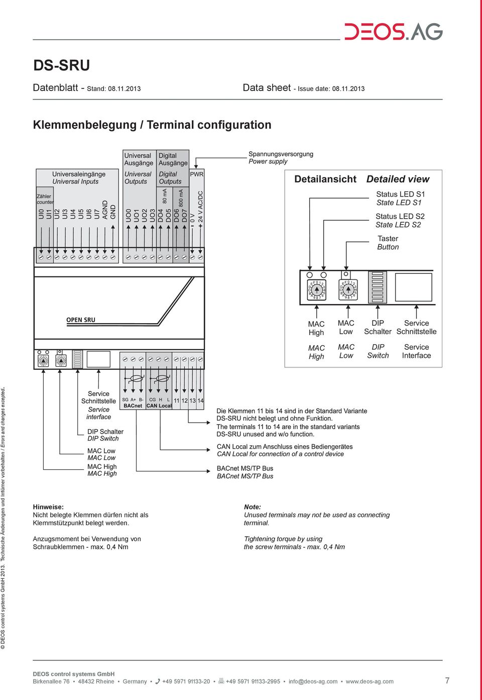 2013 Klemmenbelegung / Terminal configuration Detailansicht Detailed view Status LED S1 State LED S1 Status LED S2 State LED S2 Taster Button MAC High MAC Low DIP