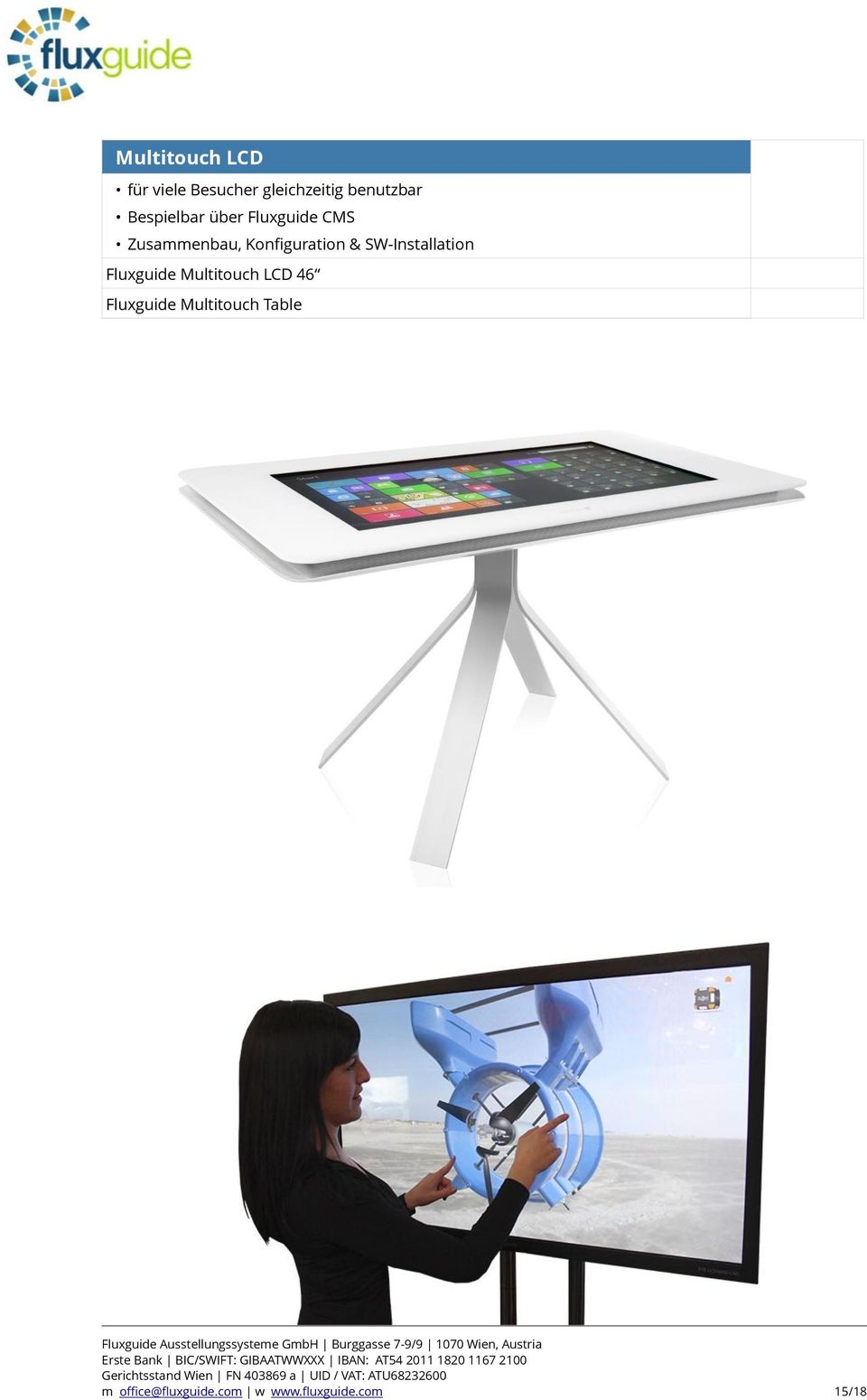 Multitouch LCD 46 Fluxguide Multitouch Table Erste Bank BIC/SWIFT: