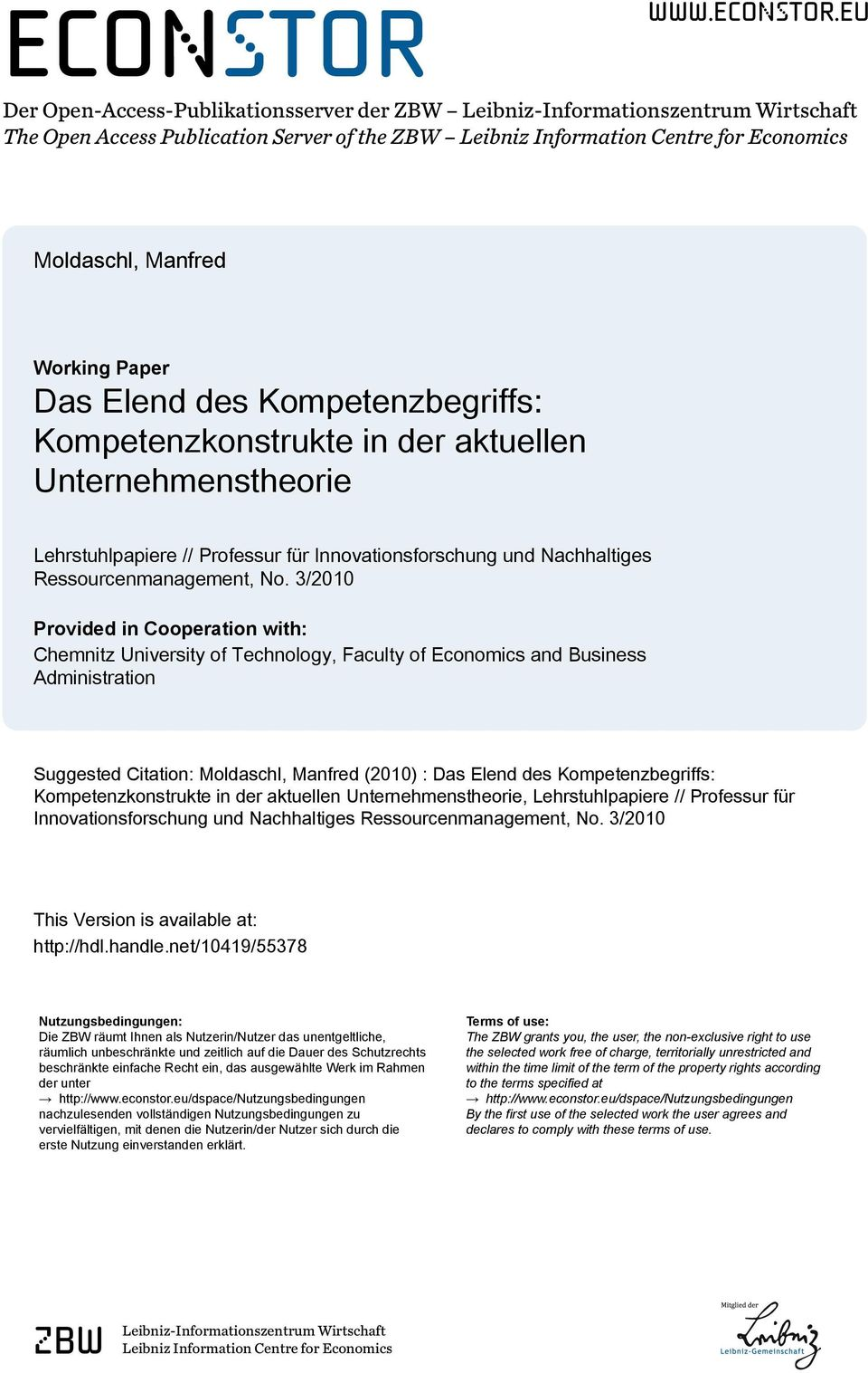 eu Der Open-Access-Publikationsserver der ZBW Leibniz-Informationszentrum Wirtschaft The Open Access Publication Server of the ZBW Leibniz Information Centre for Economics Moldaschl, Manfred Working