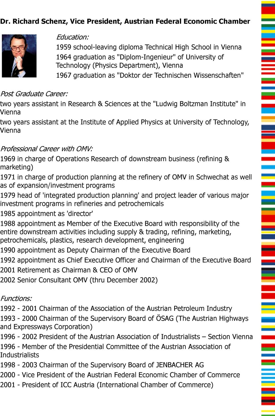 in Vienna two years assistant at the Institute of Applied Physics at University of Technology, Vienna Professional Career with OMV: 1969 in charge of Operations Research of downstream business