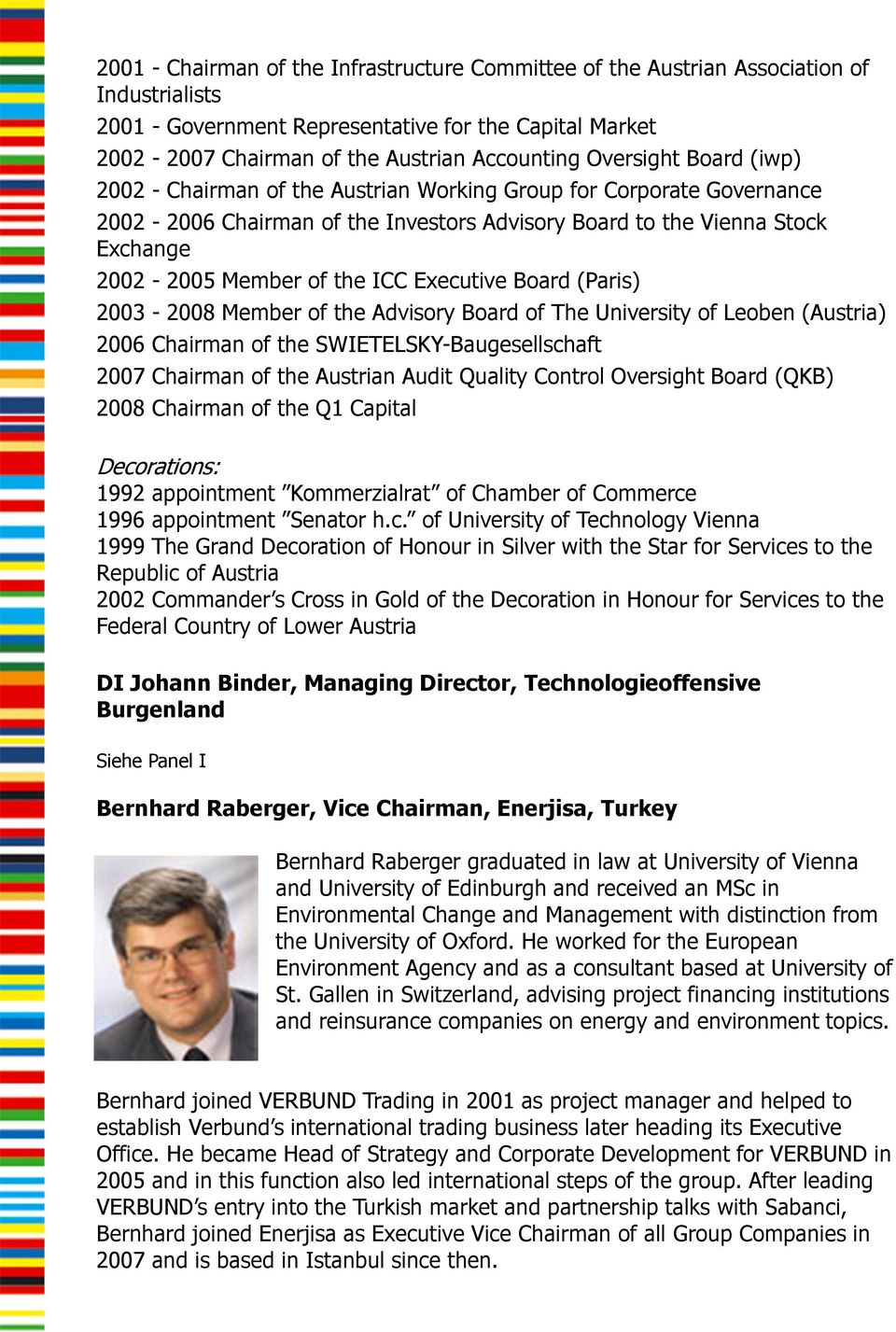 ICC Executive Board (Paris) 2003-2008 Member of the Advisory Board of The University of Leoben (Austria) 2006 Chairman of the SWIETELSKY-Baugesellschaft 2007 Chairman of the Austrian Audit Quality