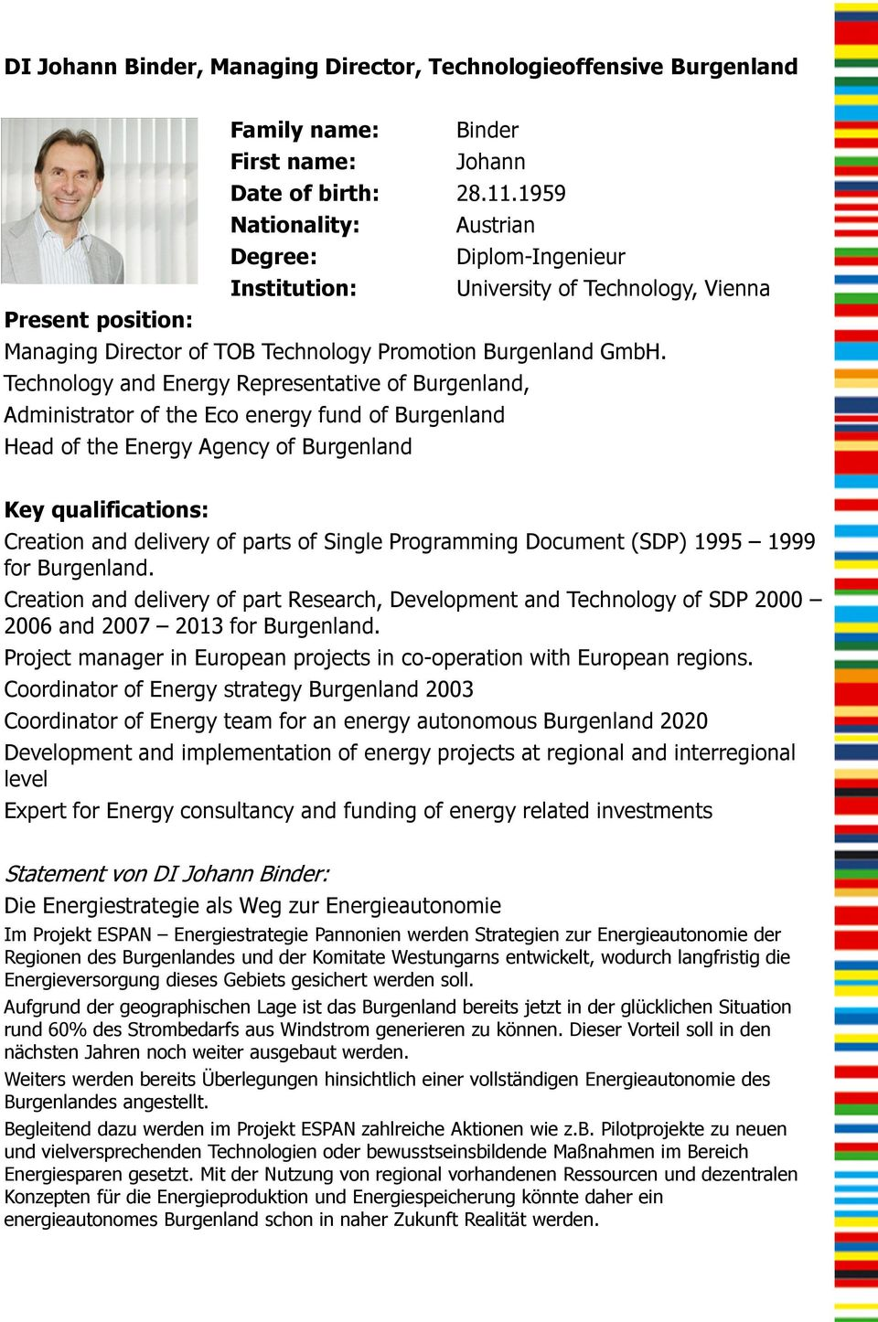 Technology and Energy Representative of Burgenland, Administrator of the Eco energy fund of Burgenland Head of the Energy Agency of Burgenland Key qualifications: Creation and delivery of parts of
