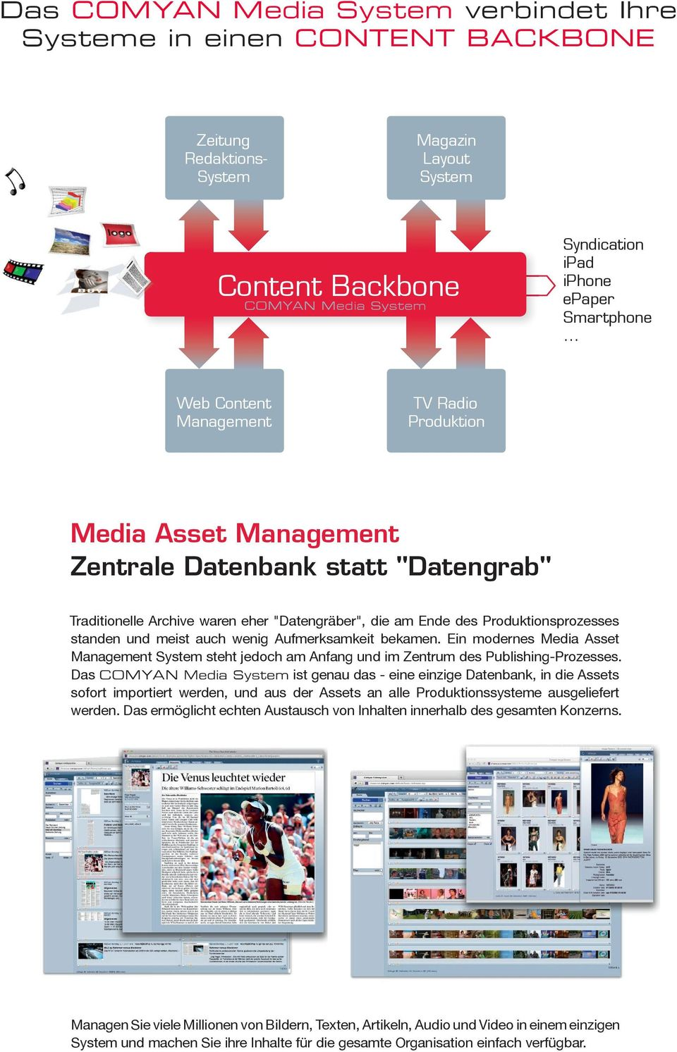 ".. Web Content Management TV Radio Produktion Media Asset Management Zentrale Datenbank statt ""Datengrab"" Traditionelle Archive waren eher ""Datengräber"", die am Ende des Produktionsprozesses standen"