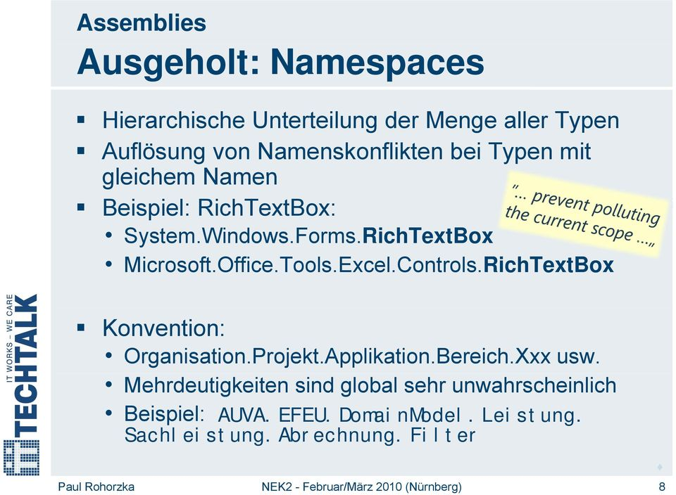 RichTextBox Microsoft.Office.Tools.Excel.Controls.RichTextBox Konvention: Organisation.Projekt.Applikation.