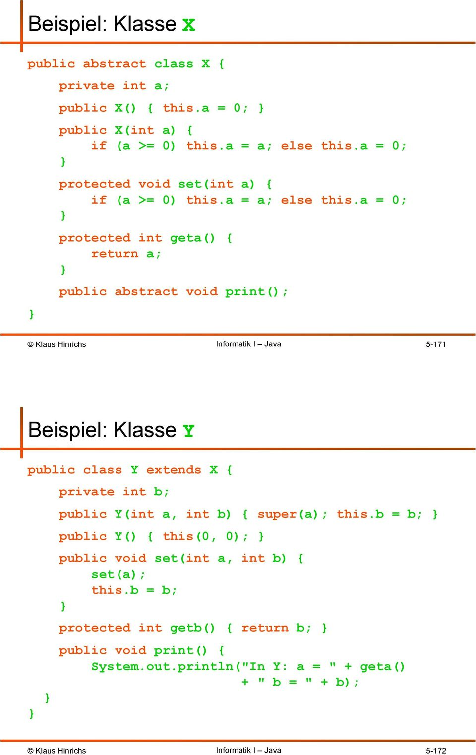 a = 0; protected int geta() { return a; public abstract void print(); 5-171 Beispiel: Klasse Y public class Y extends X { private int b; public