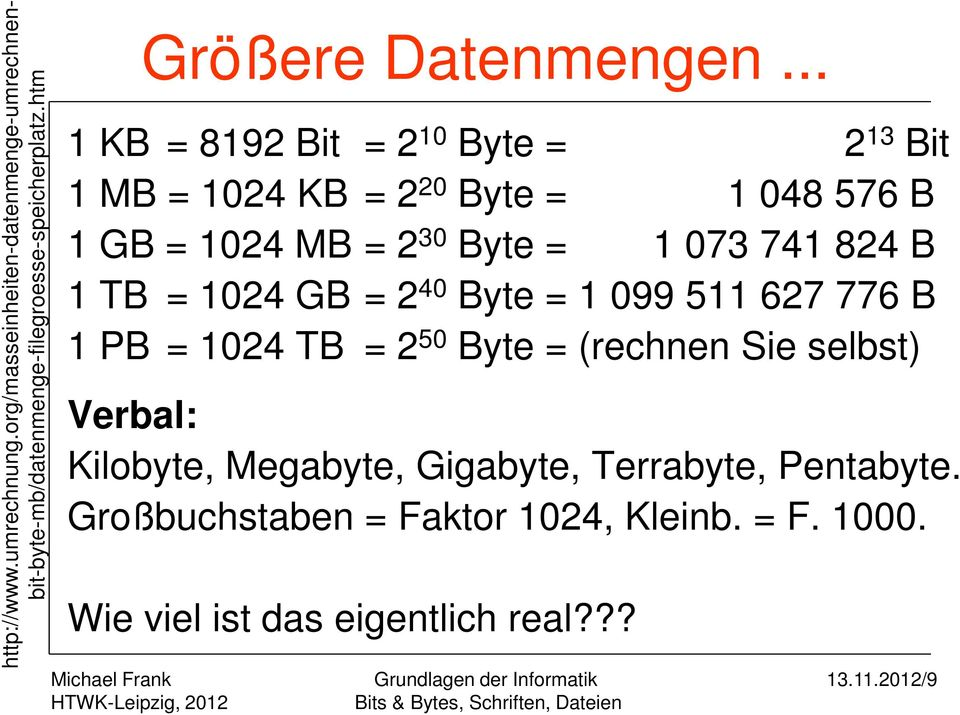 .. 1 KB = 8192 Bit = 2 10 Byte = 2 13 Bit 1 MB = 1024 KB = 2 20 Byte = 1 048 576 B 1 GB = 1024 MB = 2 30 Byte = 1 073 741 824 B 1
