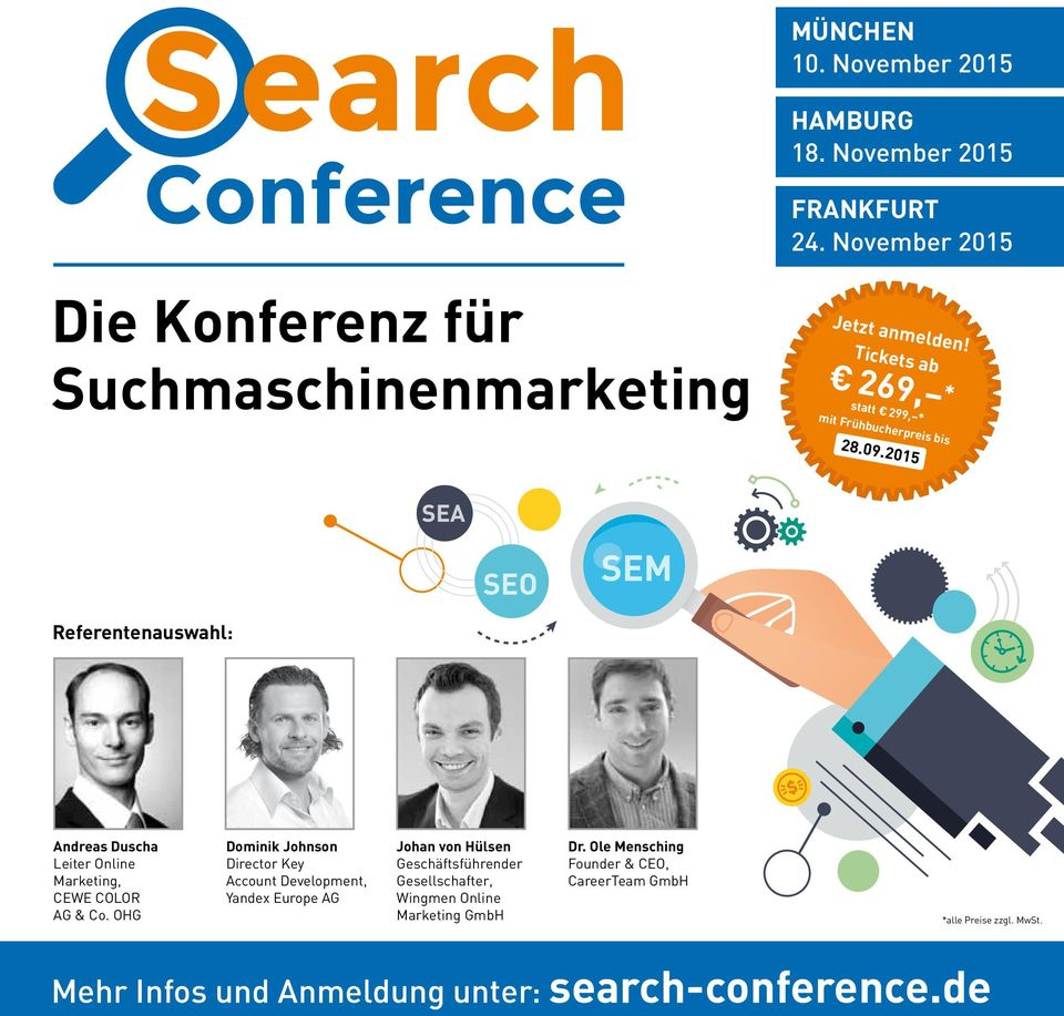 2015 SEA SEO SEM Referentenauswahl: Andreas Duscha Leiter Online Marketing, CEWE COLOR AG & Co.