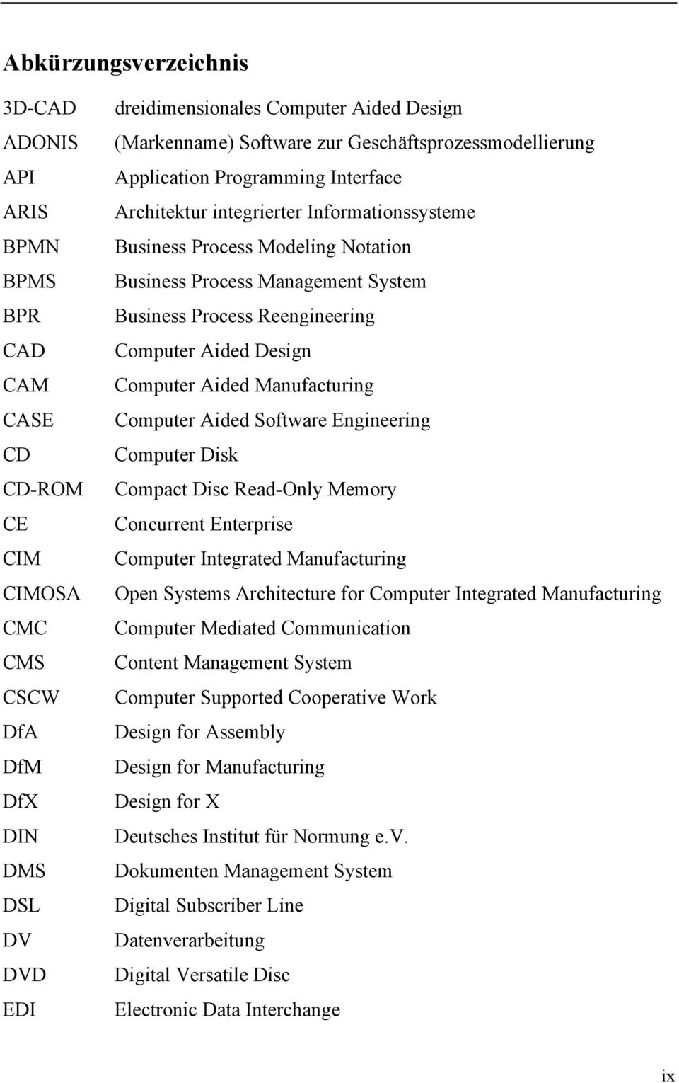 Process Reengineering Computer Aided Design Computer Aided Manufacturing Computer Aided Software Engineering Computer Disk Compact Disc Read-Only Memory Concurrent Enterprise Computer Integrated