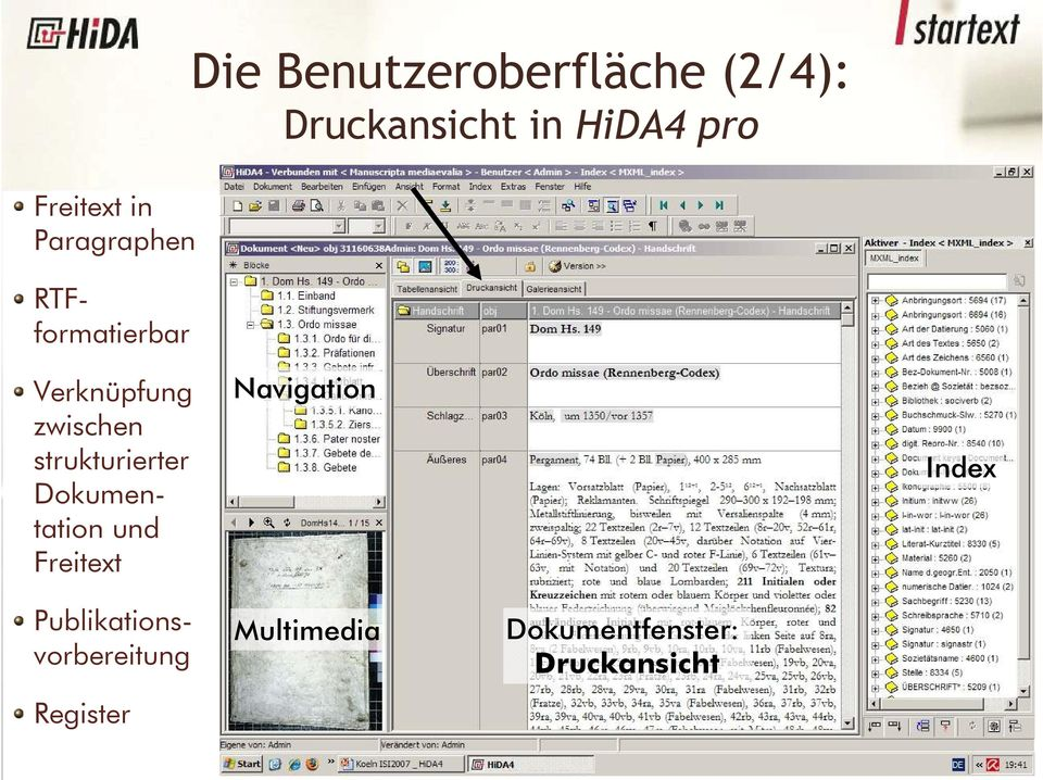 strukturierter Dokumentation und Freitext Navigation Index