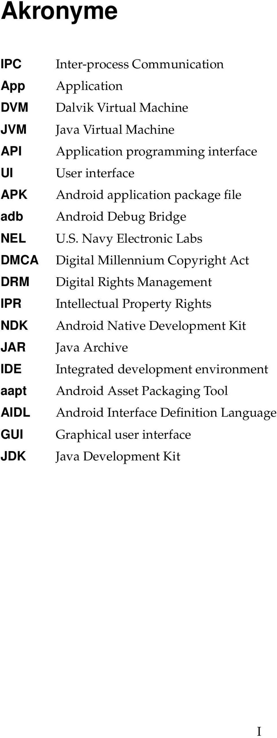 Navy Electronic Labs Digital Millennium Copyright Act Digital Rights Management Intellectual Property Rights Android Native Development Kit Java