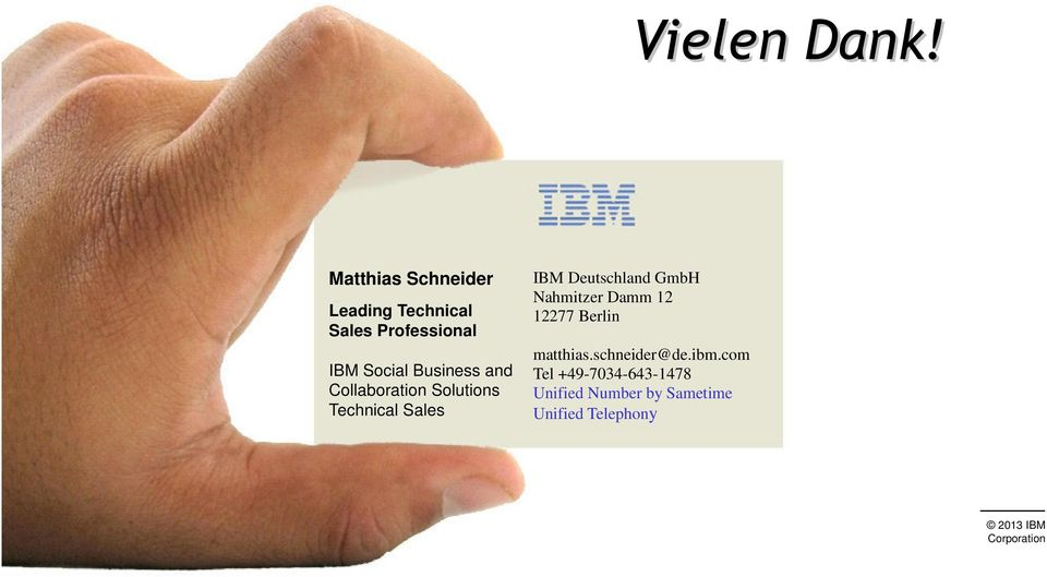 Business and Collaboration Solutions Technical Sales IBM Deutschland