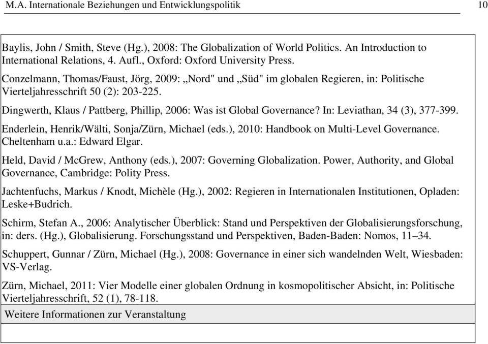 Dingwerth, Klaus / Pattberg, Phillip, 2006: Was ist Global Governance? In: Leviathan, 34 (3), 377-399. Enderlein, Henrik/Wälti, Sonja/Zürn, Michael (eds.), 2010: Handbook on Multi-Level Governance.