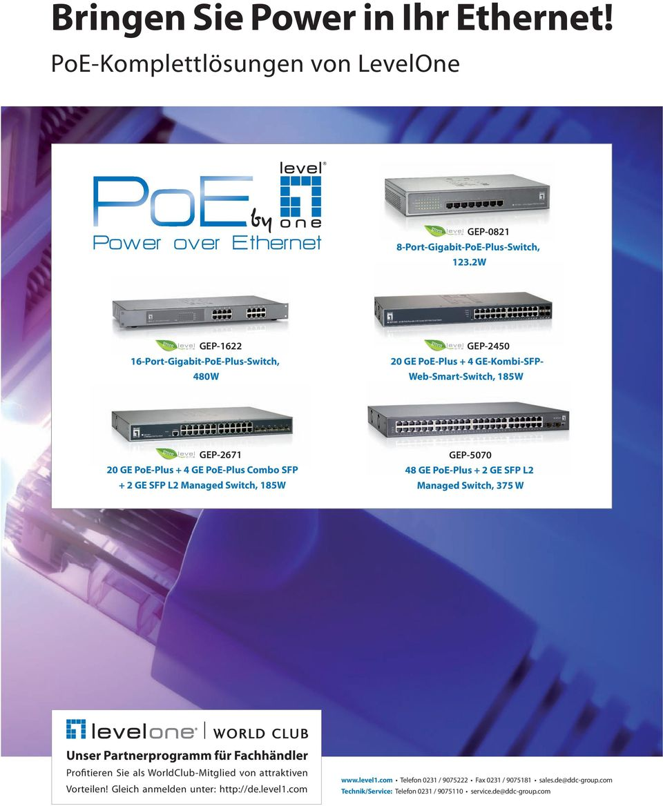 20 GE PoE-Plus + 4 GE PoE-Plus Combo SFP + 2 GE SFP L2 Managed Switch, 185W GEP-5070 48 GE PoE-Plus + 2 GE SFP L2 Managed