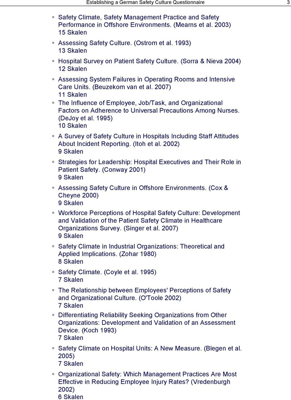 007) Skalen The Influence of Employee, Job/Task, and Organizational Factors on Adherence to Universal Precautions Among Nurses. (DeJoy et al.