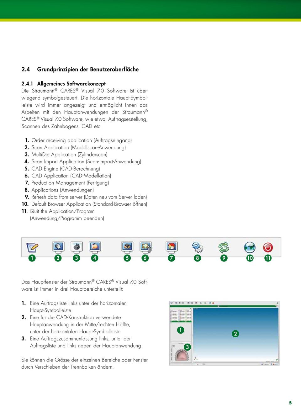 0 Software, wie etwa: Auftragserstellung, Scannen des Zahnbogens, CAD etc. 1. Order receiving application (Auftragseingang) 2. Scan Application (Modellscan-Anwendung) 3.