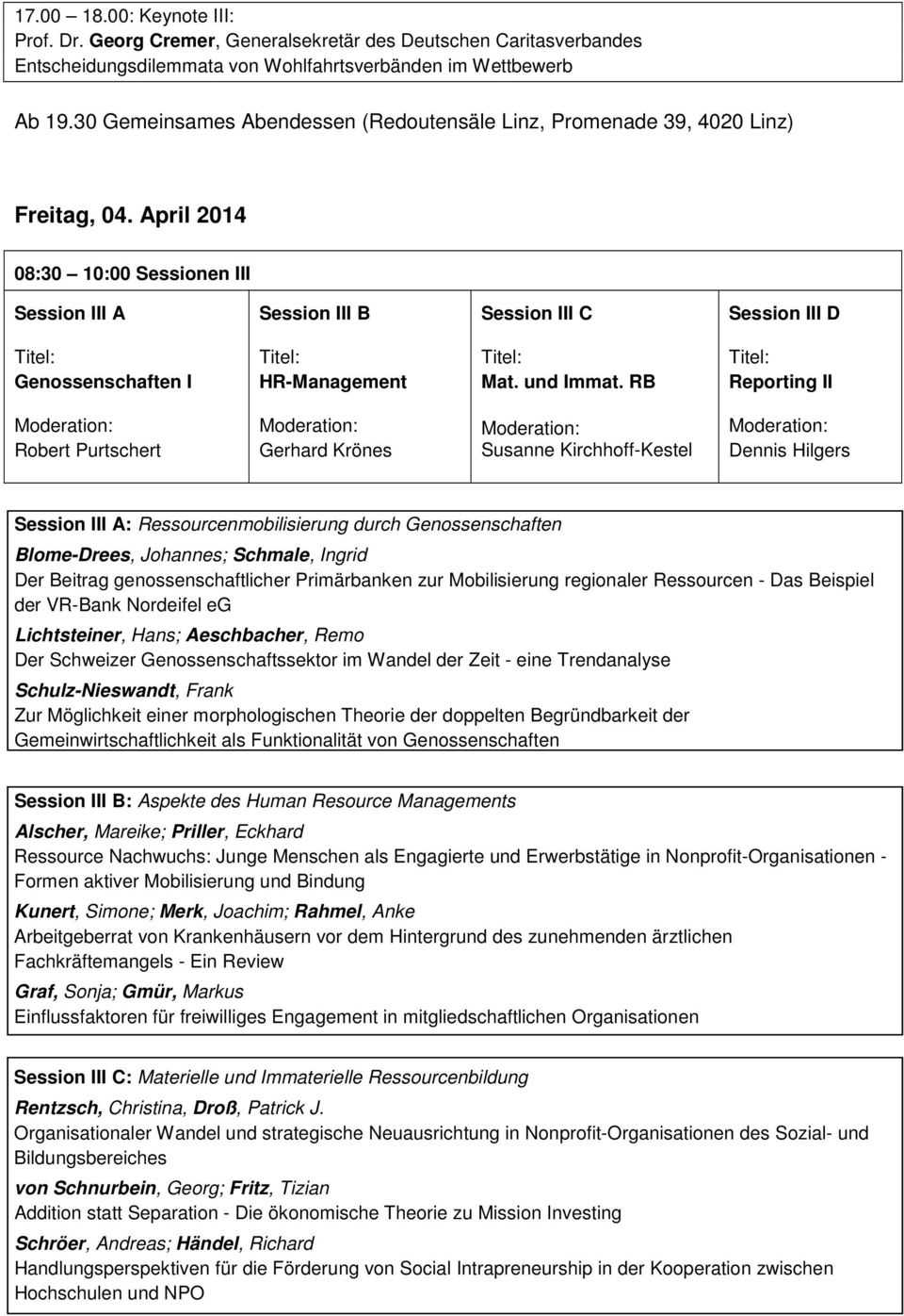 April 2014 08:30 10:00 Sessionen III Session III A Session III B Session III C Session III D Genossenschaften I HR-Management Mat. und Immat.