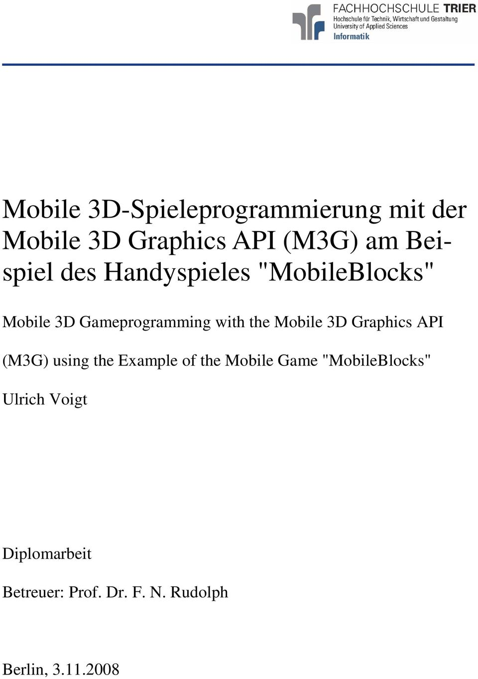 Mobile 3D Graphics API (M3G) using the Example of the Mobile Game