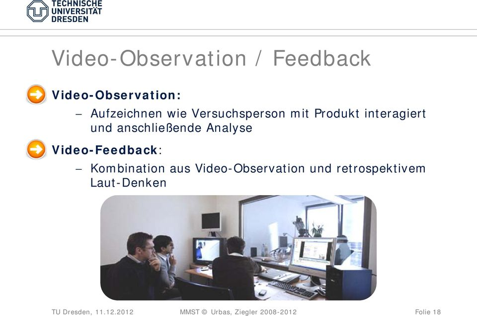 Video-Feedback: Kombination aus Video-Observation und
