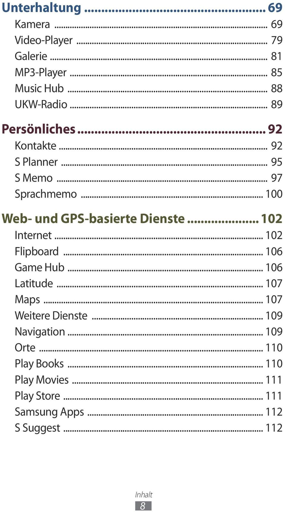 .. 102 Internet... 102 Flipboard... 106 Game Hub... 106 Latitude... 107 Maps... 107 Weitere Dienste... 109 Navigation.