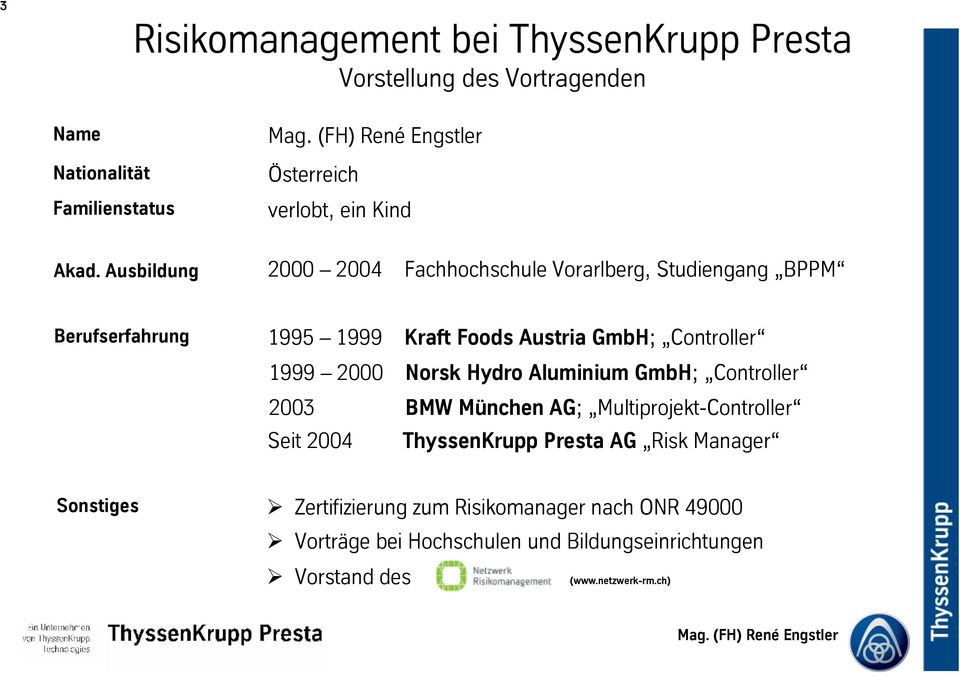 Foods Austria GmbH; Controller 1999 2000 Norsk Hydro Aluminium GmbH; Controller 2003 BMW München AG; Multiprojekt-Controller