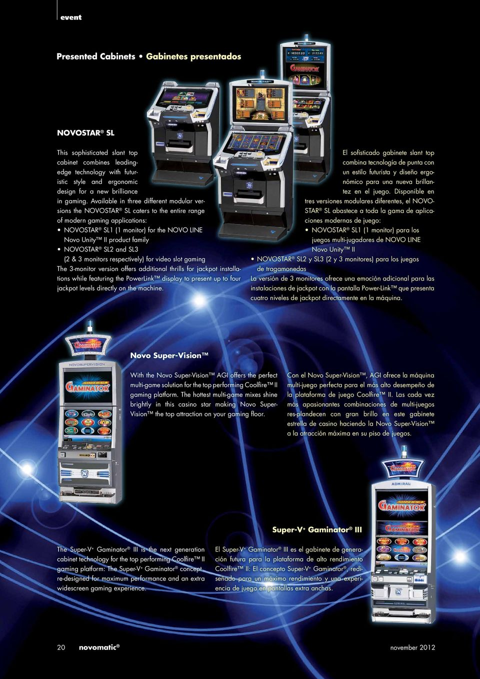 NOVOSTAR SL2 and SL3 (2 & 3 monitors respectively) for video slot gaming The 3-monitor version offers additional thrills for jackpot installations while featuring the PowerLink display to present up