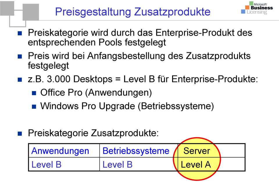b. 3.000 Desktops = Level B für Enterprise-Produkte: Office Pro (Anwendungen) Windows Pro