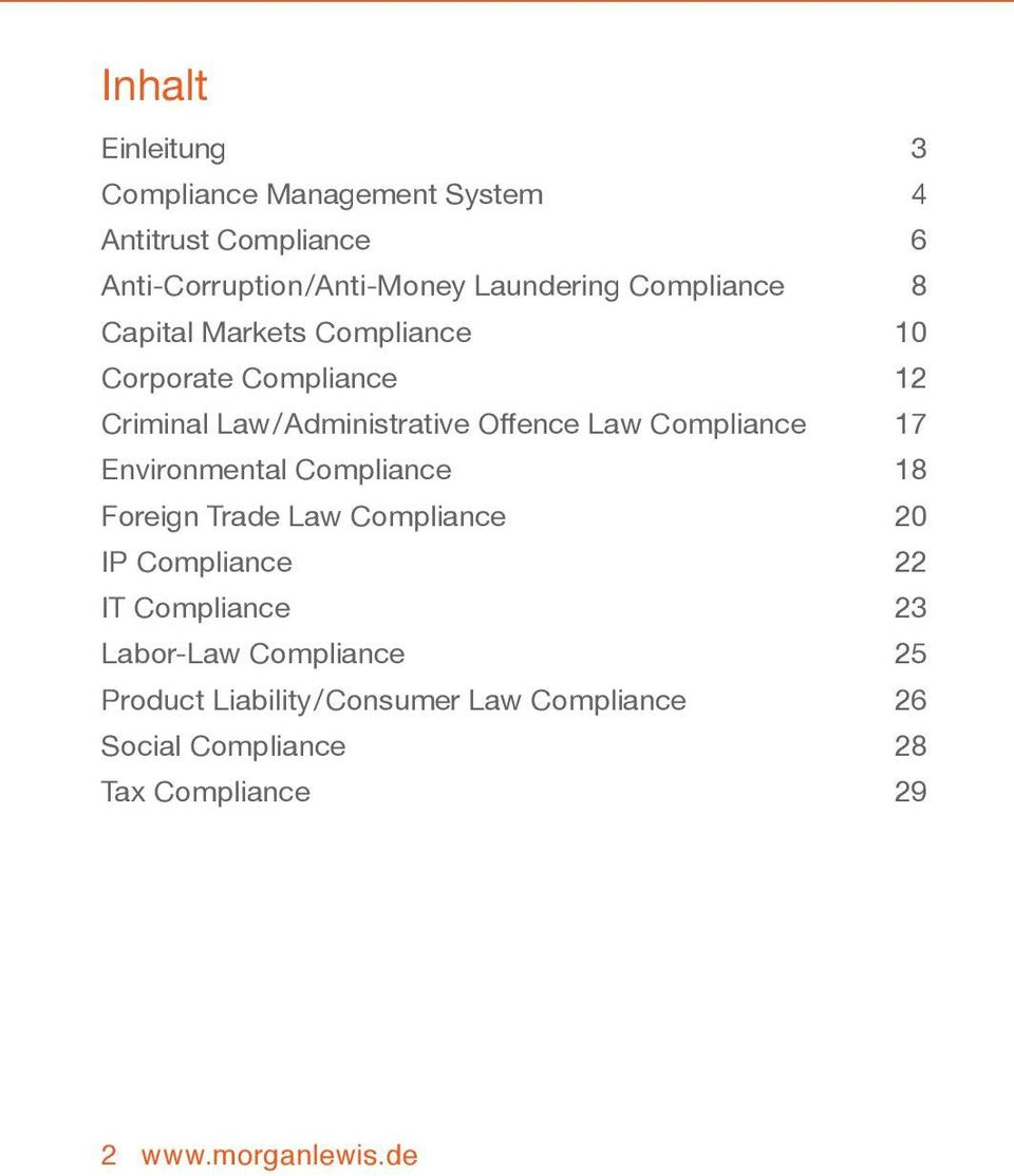 Compliance 17 Environmental Compliance 18 Foreign Trade Law Compliance 20 IP Compliance 22 IT Compliance 23