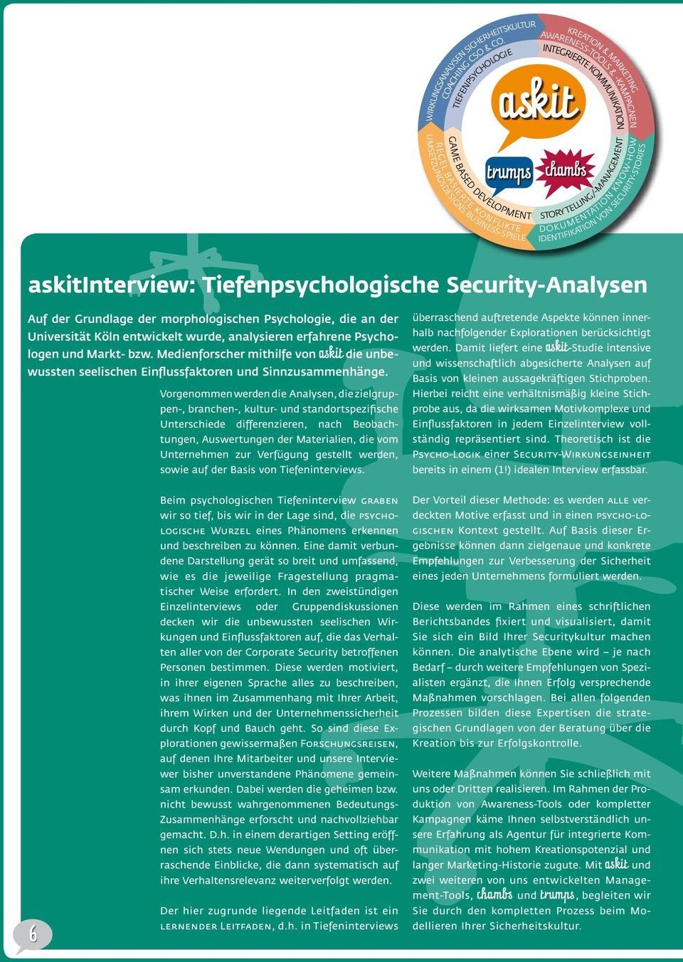 BASIERTE KONFLIKTE trumps chambs STORY TELLING/-MANAGEMENT DOKUMENTATION KNOW-HOW IDENTIFIKATION VON SECURITY-STORIES askitinterview: Tiefenpsychologische Security-Analysen Auf der Grundlage der