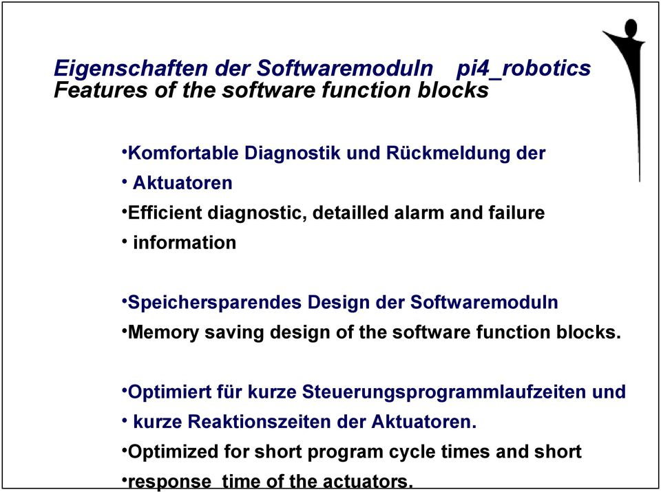 Softwaremoduln Memory saving design of the software function blocks.